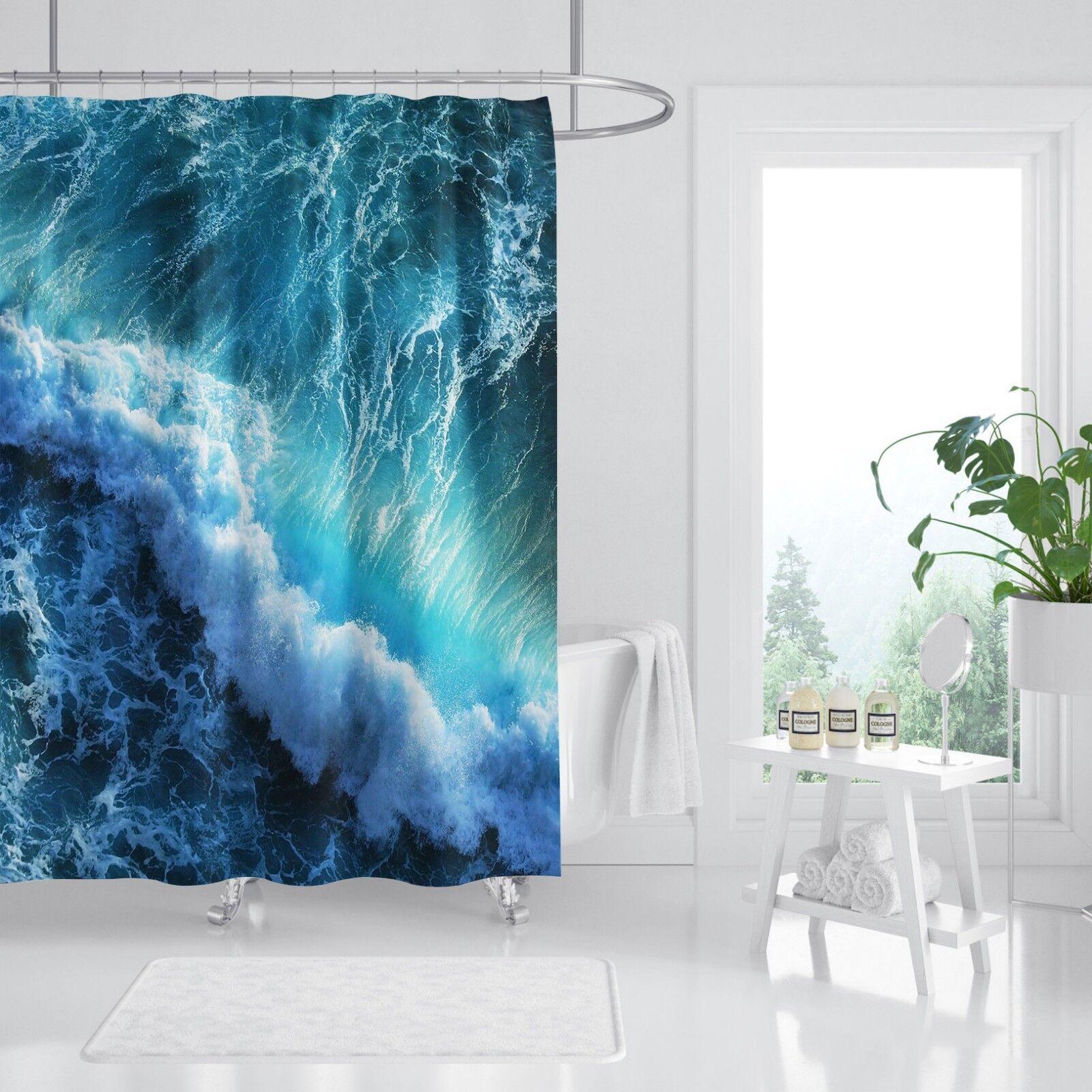 3D Sea Waves 46 Shower Curtain Waterproof Fiber Bathroom Home Windows Toilet