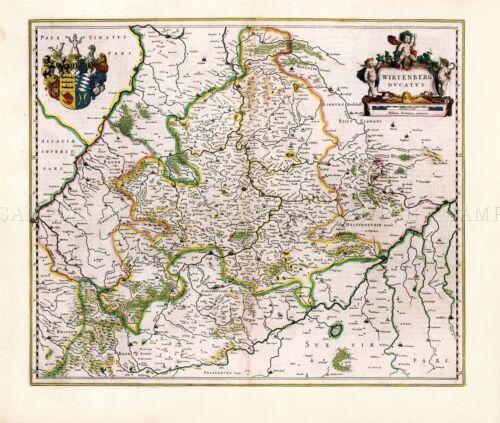 MAP BLAEU THEATRE DU MONDE DUKEDOM WURTTEMBERG REPLICA POSTER PRINT PAM0645
