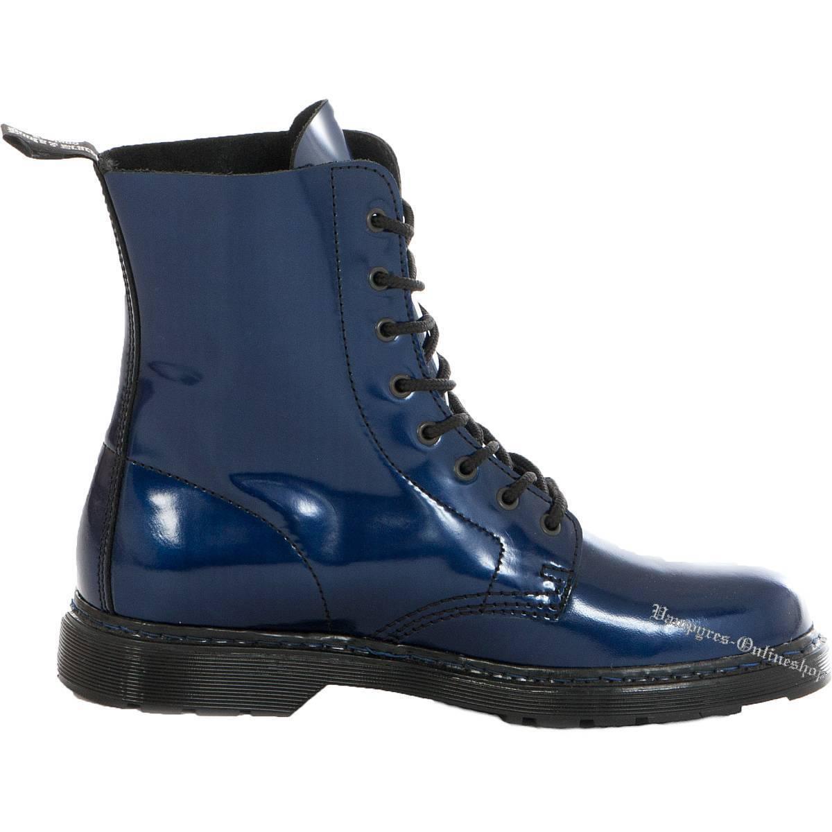 Boots and en jambes Easy 8-Trou Bleu Métallisé Bottes en and cuir Chaussures Blue Bleu Blu a968b0