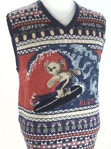 POLO-Ralph-Lauren-Bear-Sweater-Vest-Hang-10-Surfs-Up-Life-039-s-A-Beach-Men-039-s-S-New