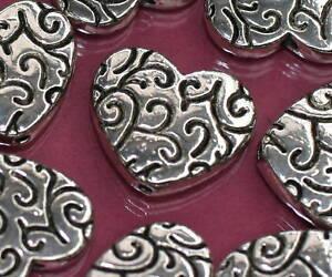 Beads-Perlen-Metallperlen-FANCY-HEART-Tibetperlen-Herz-Herzen-Schmuck-basteln