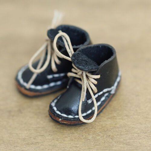 New Pure manual 1//8 Bjd Shoes Sd Doll Turn Over Black Fur Shoes Boots