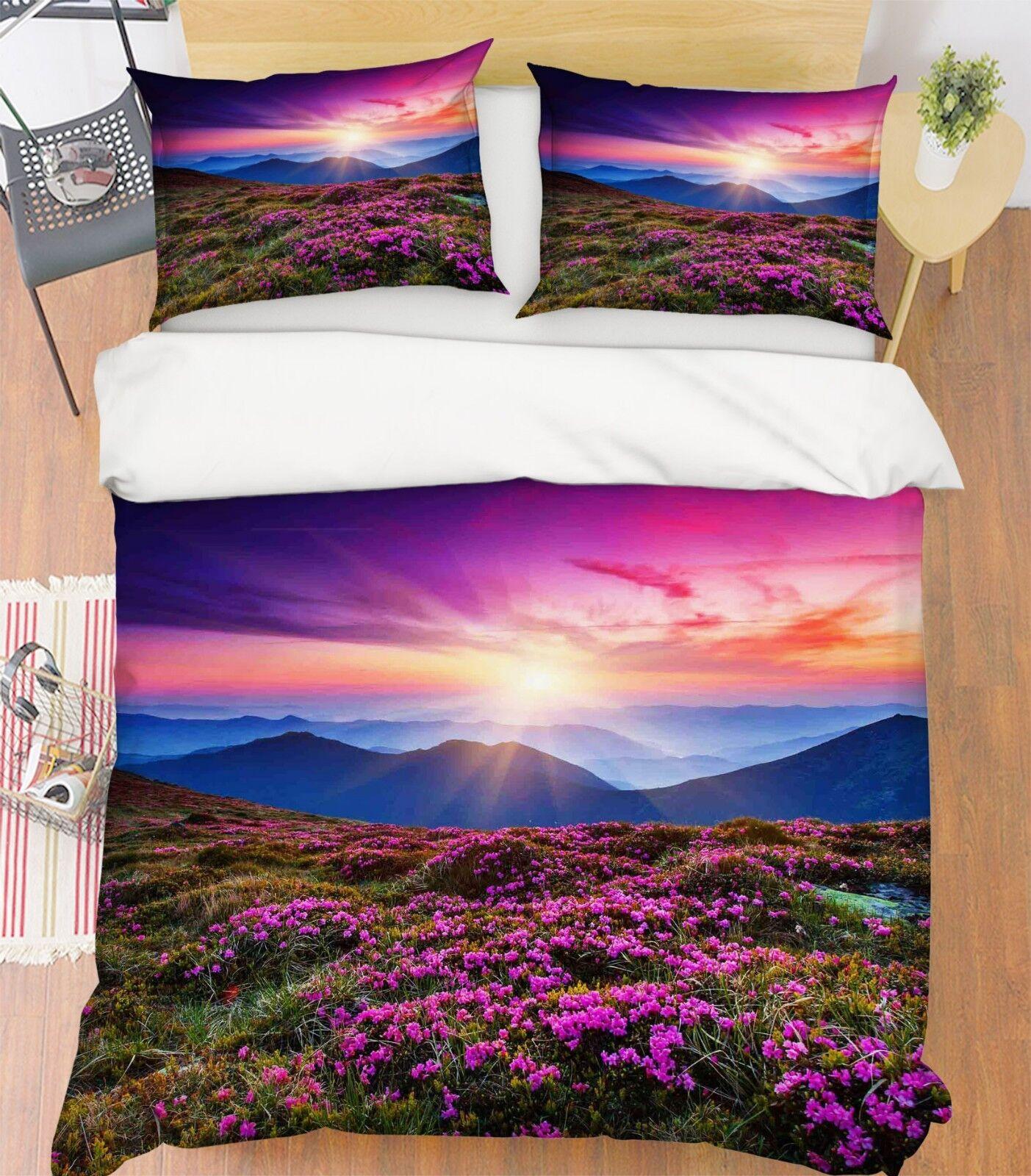 3d soleil montagne Violet champ de fleurs 5 lit housses de coussin steppes couette couverture Set Single