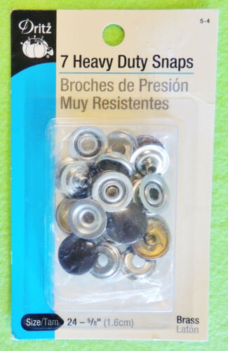 "Dritz 7pc Heavy Duty Snaps Brass Size 24 5//8/"" Silver White Brown or Dark Blue"