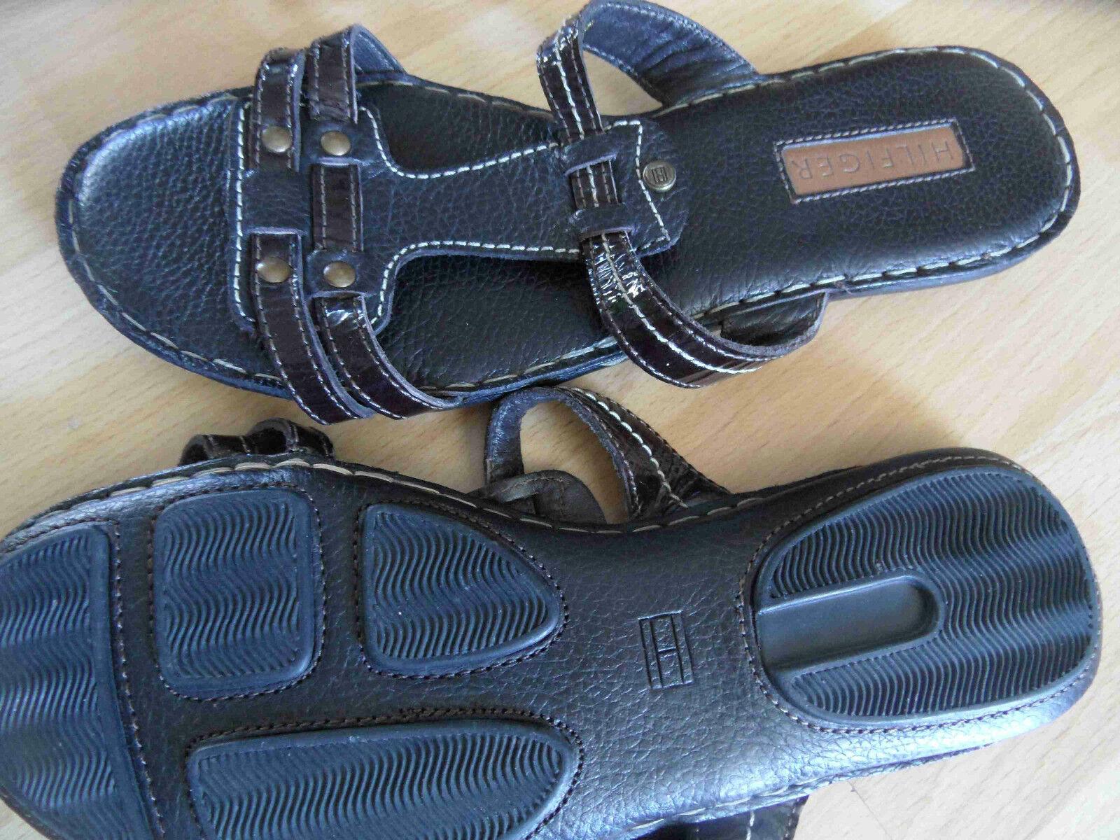 HILFIGER schöne Leder Sandaletten braun Gr. 39   (PN 714)