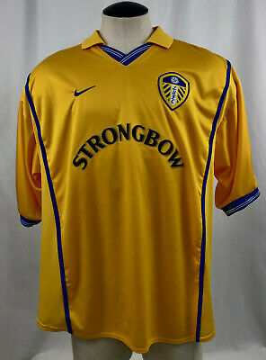 Vintage Nike Dri Fit Leeds United Lufc Strongbow Yellow Collared Jersey Size Xxl Ebay