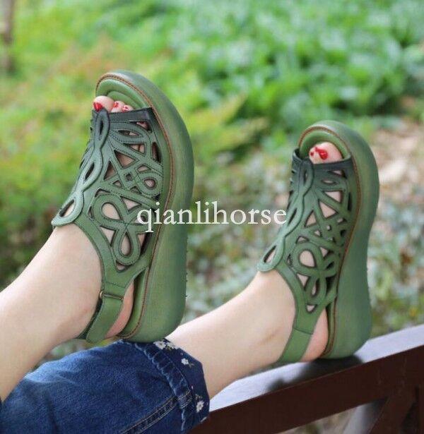 Para mujer étnico stylehollow fuera Peep Toe Sandalias Retro Plataforma Slip On Suave Retro Sandalias 973121