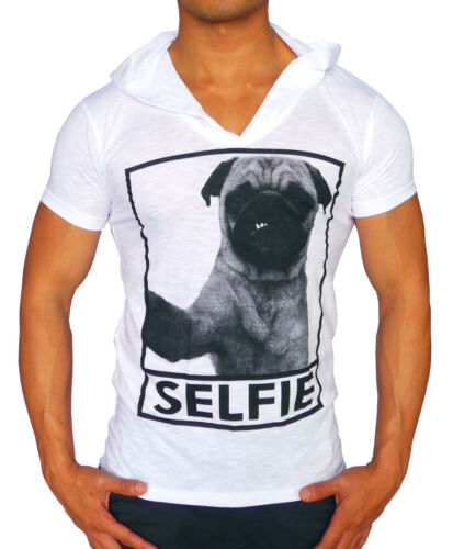 NEW MENS HOODED T SHIRT SINGLET SELFIE PUG LIFE FASHION CASUAL COMEDY MUSCLE GYM
