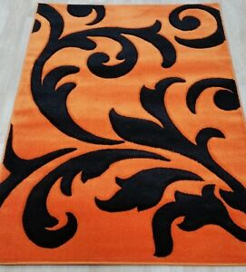 Details About Modern Orange Black Cheap Carpet Mat Rug Soft Thick Pile All Floors Dense Pile