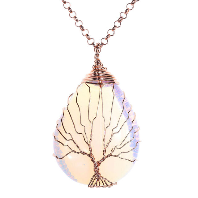 Opalite Gemstone Copper Wire Wrapped Teardrop Pendant Necklace Mother's Day Gift