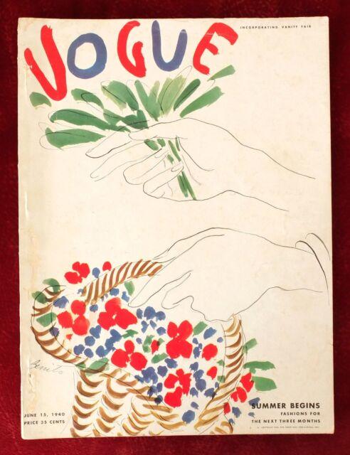 Vogue Magazine ~ June 15, 1940 ~ Benito Covarrubias Frissell Hats Fashion