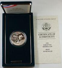 1991 Korean War Memorial Proof Silver Dollar Commem. Coin in Mint Packaging