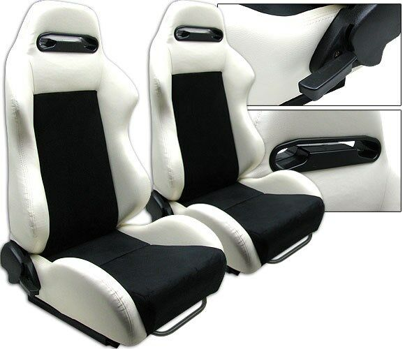NEW 2 BLACK WHITE LEATHER RACING SEATS RECLINABLE ALL HONDA