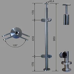Edelstahl Geländer Pfosten RR 42,4  mit Eck 135° Glashalter V2A