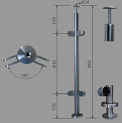 Acciaio Inox Ringhiere Montanti RR 42,4 5 Supporto V2A