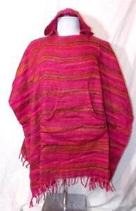 Ethnic Hippy Poncho From Festival Nepal Fair Trade Blanket Boho Fleece New qwZAHH
