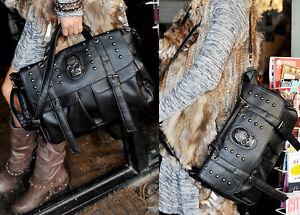 Fashion Women PU Leather Shoulder Bag Punk Skull Rivet Handbag Satchel Briefcase