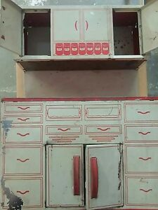 Image Is Loading 1950s Wolverine Tin Litho Red Amp White Kitchen