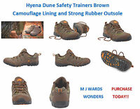 Hyena Dune Safety Trainers Brown Camouflage Lining And Strong Rubber Outsole