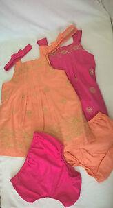 Baby-Girl-3-Piece-Set-Cotton-Summer-Dress-Headband-Pants-New-Cute-6-23-Month-New