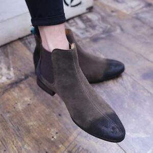 Men Pointy Toe Zip Suede Flat Ankle Boot Shoe Chelsea British Fashion Casual New