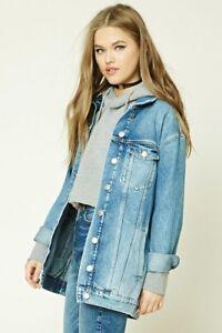 Women-039-s-Oversized-Denim-Jacket-Blue-Size-Small