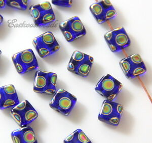 Square-Tile-Beads-6x6mm-Cobalt-w-Peacock-Finish-Czech-Beads-20-Pcs