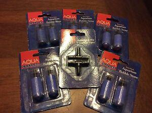 5 - two packs aquarium bubble stone (aqua culture) & 1 t- way connector valves