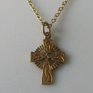 9ct Collar De Oro-Vintage 9ct Oro Cruz Celta Colgante y Cadena de oro de 9ct