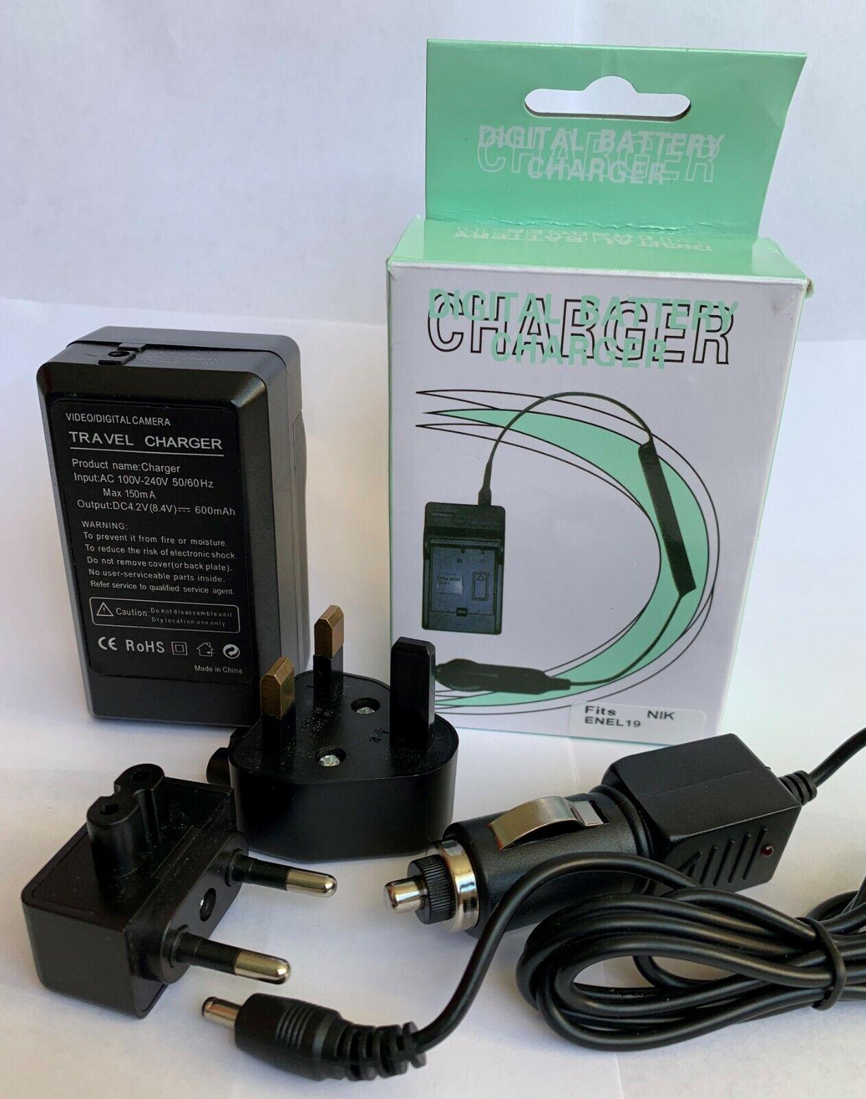 Charger for Nikon EN-EL19 Digital Camera Battery Main UK & EU Plug, Car charger