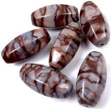 30x15mm Natural Coffee Swirl Jasper Faceted Barrel Pendant Focal Beads (5)