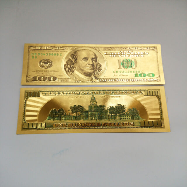 24k Pure Colorized  999 Gold US 100 Dollar Bill Bank Note Plastic
