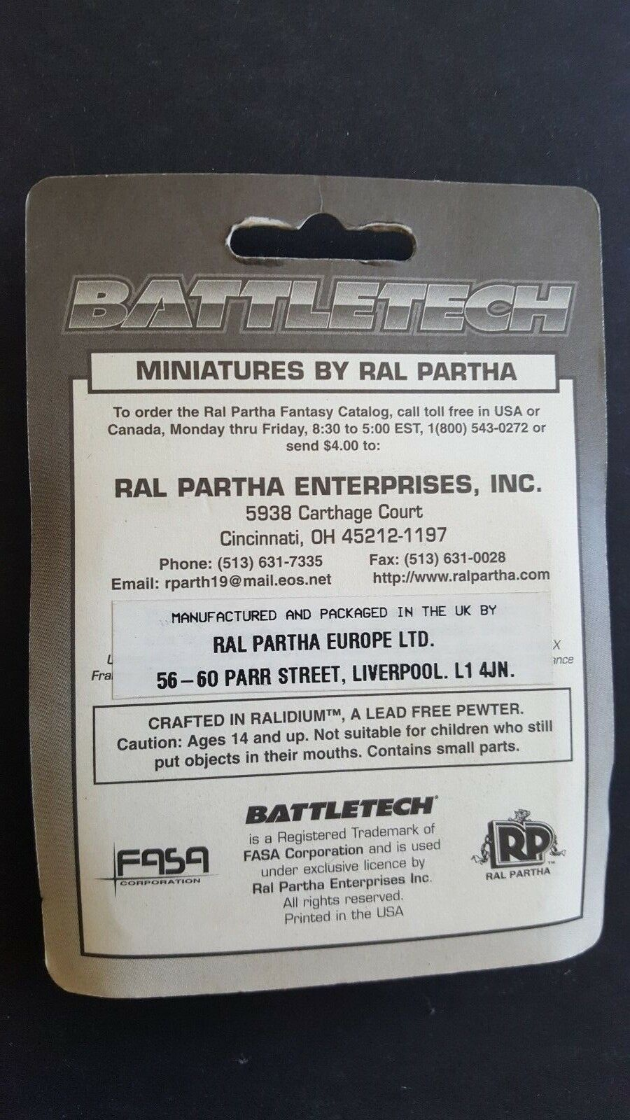 Battletech shilone 20-712 Fasa Blister Sellado De Fábrica Fábrica Fábrica 45a429
