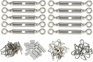 10-Pack-1-8-034-Stainless-Steel-Cable-Railing-Kits-for-Wood-Post-DIY-Balustrade-Kit