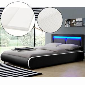 Ambiance Design en Cuir+LED Lit+Sommier+Ma<wbr/>telas Double 140x200 à lattes bed L@@K