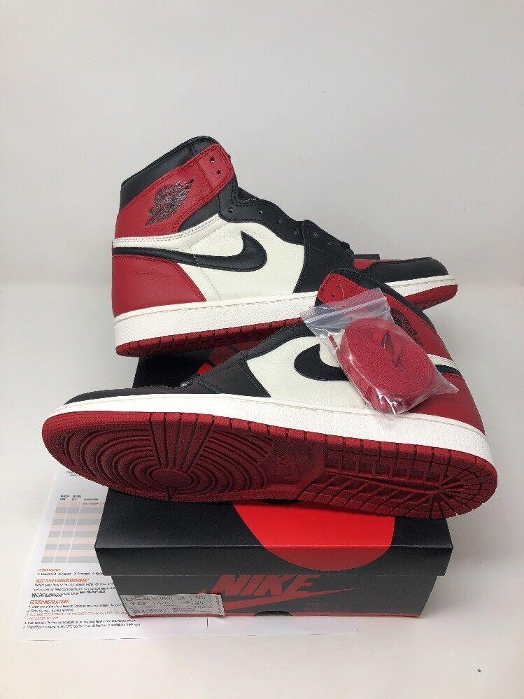 2018 Nike Air Jordan 1 Retro High OG Bred Toe 555088-610 Sz 10.5 Receipt