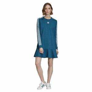 Adidas Originals Bellista Tee Dress Lange Armel Kleid Turkis Ebay