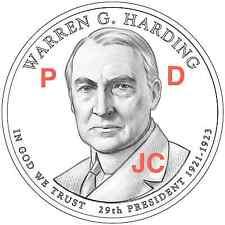 2014 P&D Warren Harding Presidential Golden Dollar PD via MINT Roll 2 Coin S et