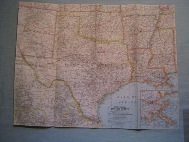 VINTAGE SOUTH CENTRAL UNITED STATES MAP National Geographic February 1961 MINT