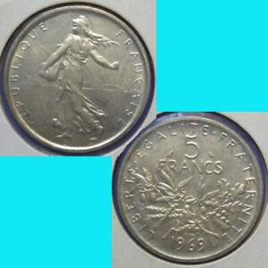 France French Francaise 5 Francs 1969 km 926 Silver 0.3221 oz