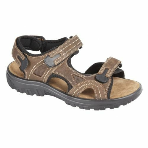 Mens Boys Leather New Brown Bio Comfort Leather Boys Sandals Flat Beach Walking Shoes dd9e6f