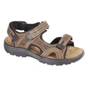 Da Uomo Ragazzi Nuovo Marrone Bio Comfort Sandali in Pelle con Tacco Piatto Spiaggia PASS TG UK 612