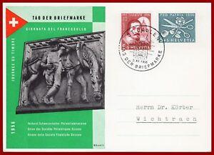Schweiz-Tag-der-Briefmarke-1956-Sonderkarte-mit-Juventute-Patria-Frankatur