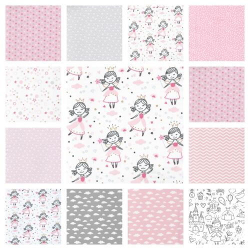 Higgs /& Higgs PINK PRINCESS 100/% COTTON FABRIC children GIRLS hearts stars dots