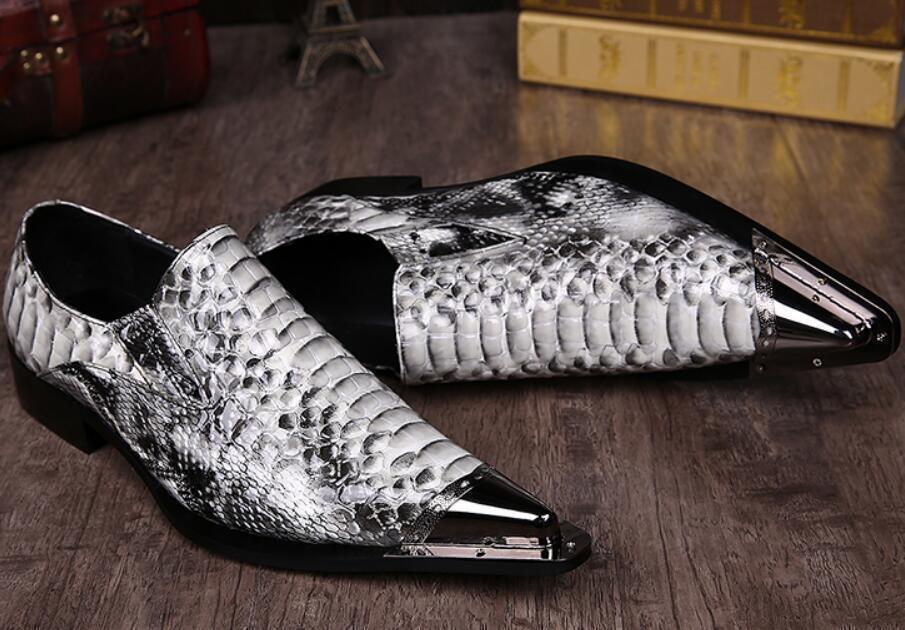 British Men's Metal Pointy Toe Snakeskin Pattern Formal Dress Slip On shoes Size