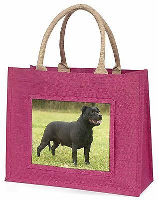 Schwarz Staffordshire Bull Terrier Große Rosa Einkaufstasche Weihnachten P,