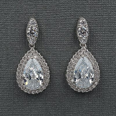 18K White Gold Plated Cubic Zirconia CZ Wedding Bridal Drop Dangle earrings 8175