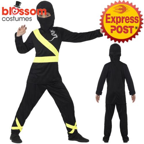 CK996 Black Yellow Ninja Child Kids Warrior Kungfu Boys Fancy Costume Book Week
