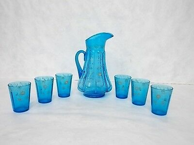 VENETIAN HAND PAINTED GLASS FLORAL PITCHER & TUMBLERS