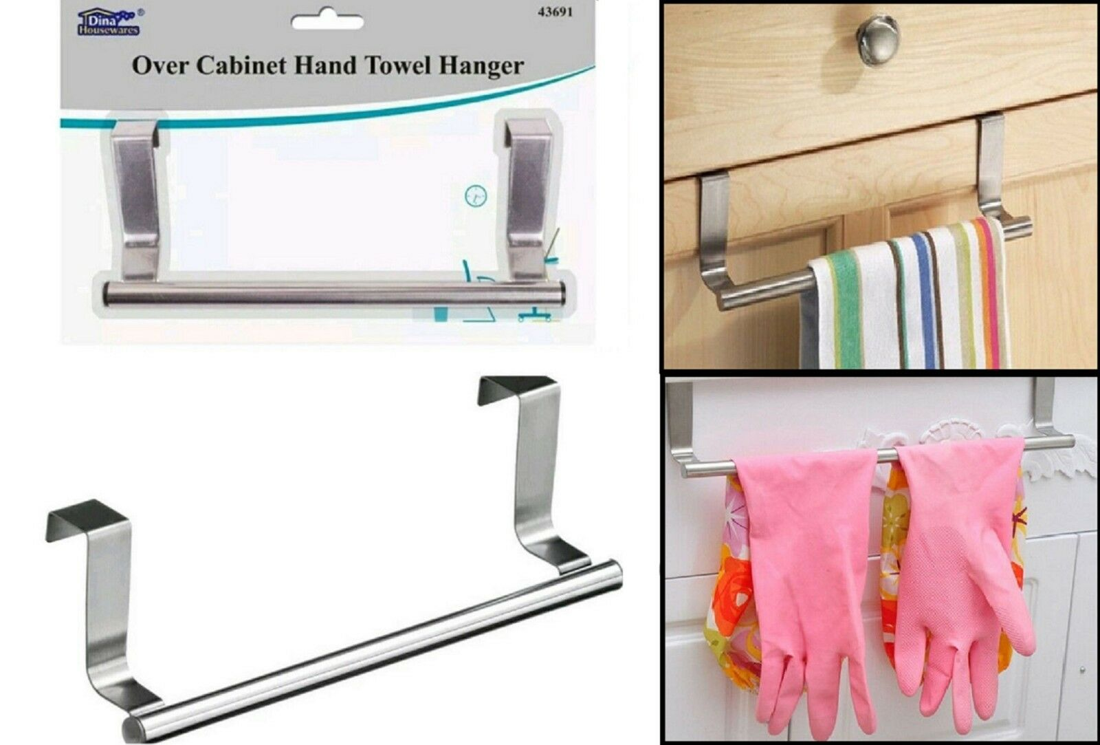 2 x Over Kitchen Cabinet Door Tea Hand Towel Rail Holder Hanger Storage 23 Cm.